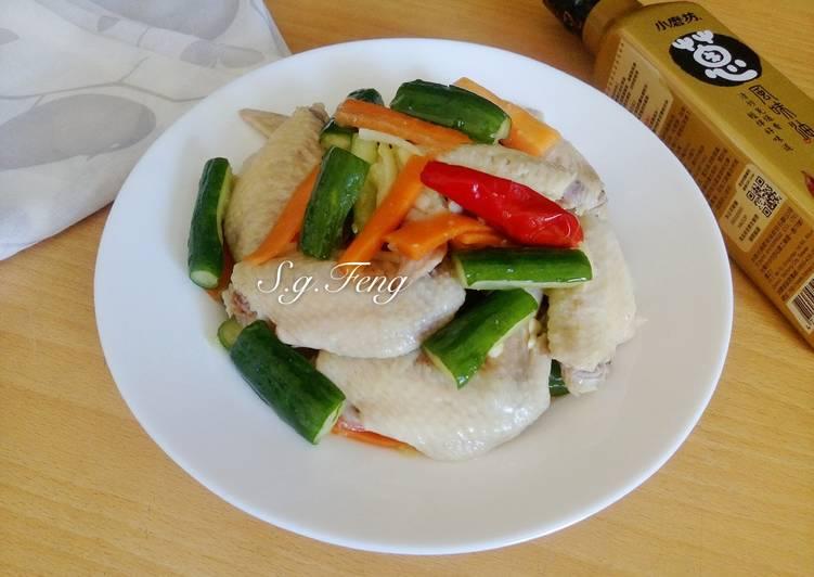 蔥油雞翅拌小黃瓜(電鍋版)
