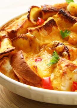 [阿妮塔♥yummy] 剩餘咖哩醬汁不浪費,焗烤咖哩麵包布丁。
