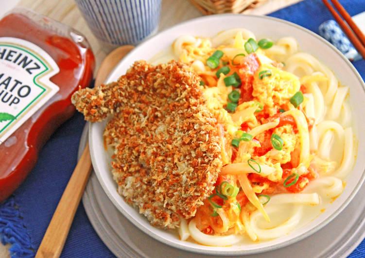 [亨氏番茄醬][亨氏番茄醬]日式豬排佐番茄滑蛋湯烏龍麵