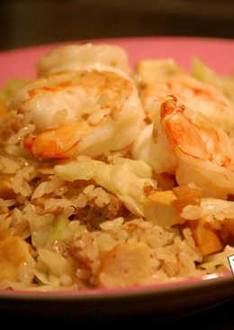 蒜蓉大蝦拌豆乾炒飯
