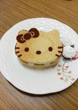 【Kate午後烘焙】捨不得吃的Hello Kitty pancake(煎鬆餅)