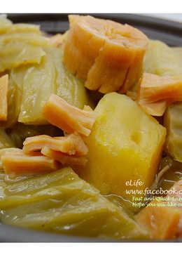 [年菜料理] 干貝芥菜地瓜雞 (長年菜)