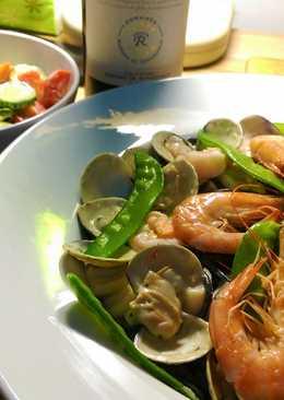 #簡易西餐#白醬海鮮墨魚麵。