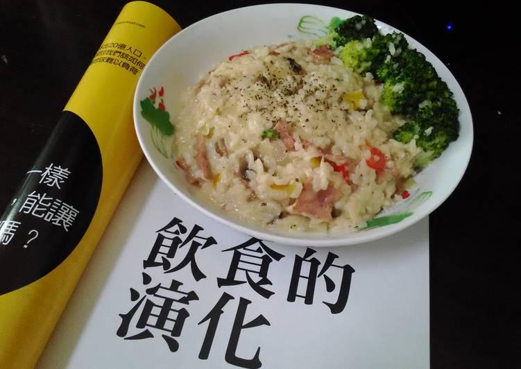 簡單又美味 奶油磨菇培根燉飯