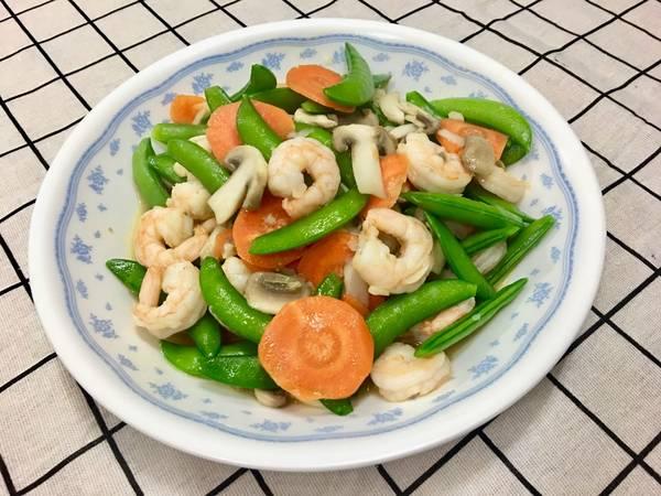 蘑菇清炒甜豆蝦仁