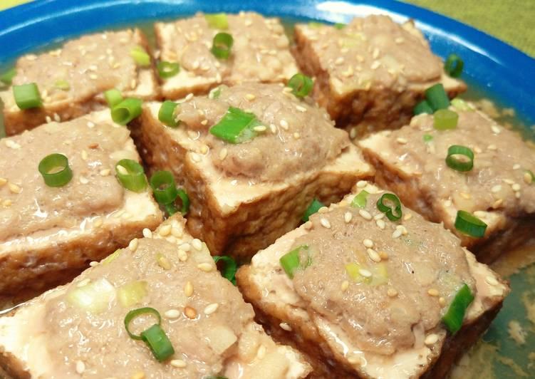 ~3分鐘微波.油豆腐蒸肉~餐桌上的晚餐
