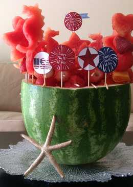 Happy 4th of July!Watermelon BBQ Grill with Fruit Kabobs-美國國慶消暑西瓜水果串燒烤爐♥!!!