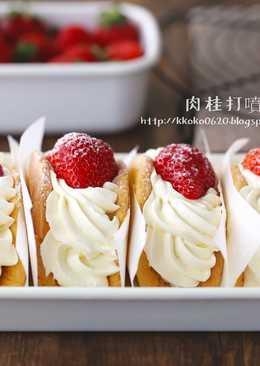 韓國流行排隊甜點。草莓蛋糕捲