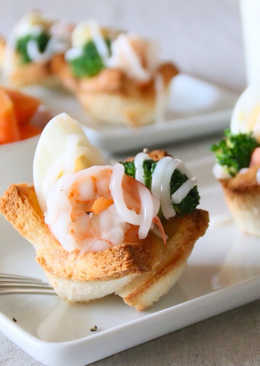 鮮蝦水煮蛋吐司杯