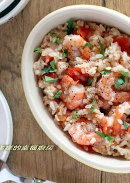 一整顆番茄飯加料版~鮮蝦蘿勒番茄燉飯