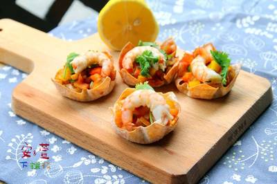 超簡單 鮮蝦檸檬沙沙醬塔