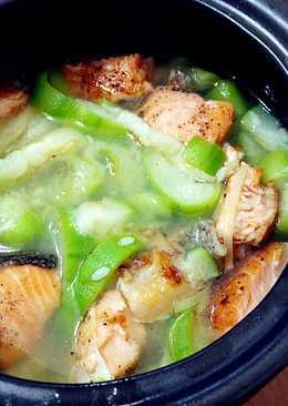 香煎鮭魚絲瓜湯