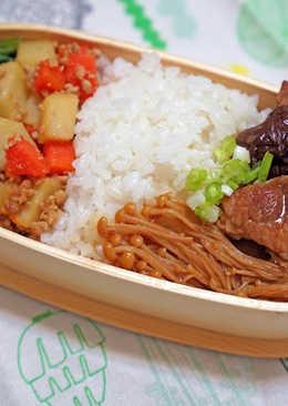 滷胛心肉&金針菇--天然水曲柳木綁帶便當盒