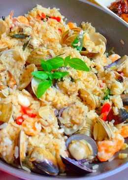 江南風麻油雞汁海鮮燉飯