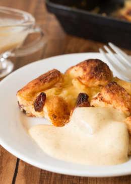 【簡易甜品】麵包布丁配香草醬