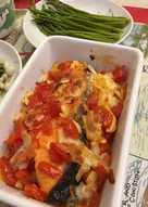 蕃茄洋蔥起司烤鮭魚佐蘆筍