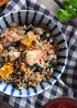 香蒜鮭魚南瓜五穀米燉飯