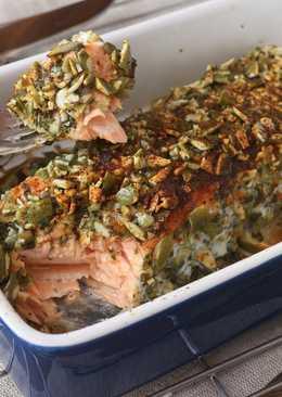 南瓜子塔香烤鮭魚