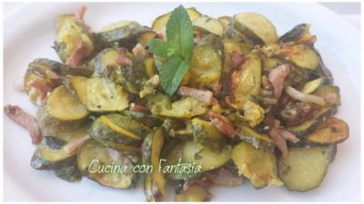 Zucchine con menta e pancetta