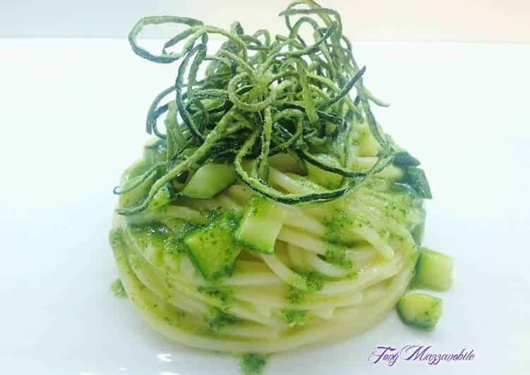 Spaghetti con zucchine alle tre consistenze