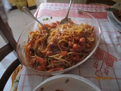 Spaghetti sui gamberoni
