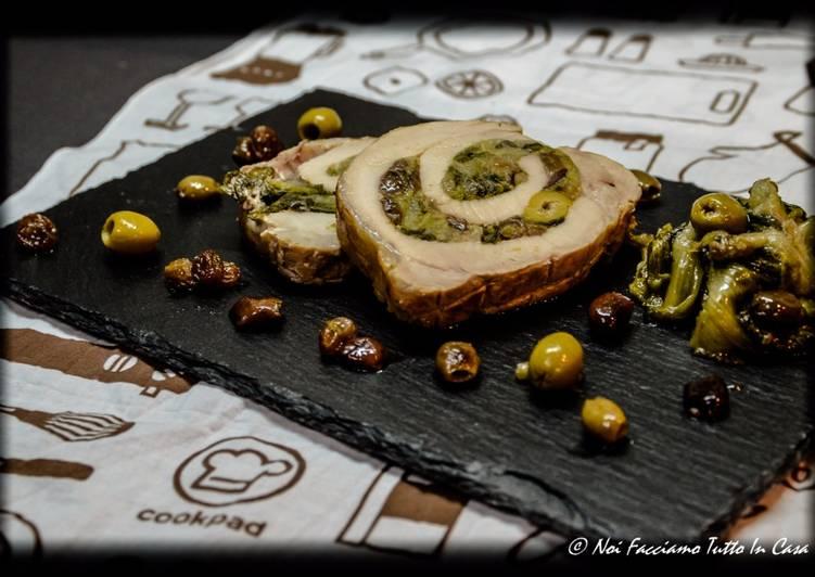 Arrosto di lonza farcito con scarola, olive, capperi e acciughe