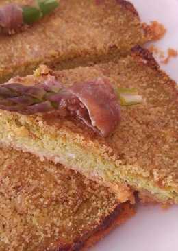 Tortino di crema di asparagi, ricotta e acciughe
