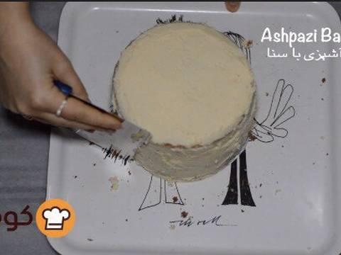 مراحل دستور آموزش پایه ای و اصولی خامه کشی اولیه کیک برای انواع تزیینات روی کیک عکس 13