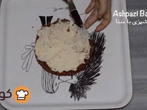 مراحل دستور آموزش پایه ای و اصولی خامه کشی اولیه کیک برای انواع تزیینات روی کیک عکس 9