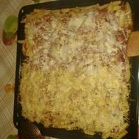 Hasábburgonya pizza