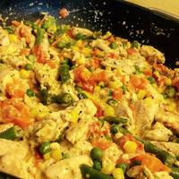 Tejszínes-zöldséges csirke