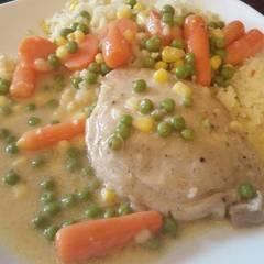 Fotós komment ehhez: Zöldséges omlós karaj, kukoricás rizzsel