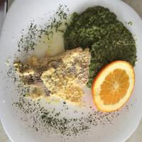 Spenótos rizottó recept, narancsos-joghurtos hallal