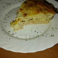 Sajtos-sonkás-kukoricás palacsinta torta