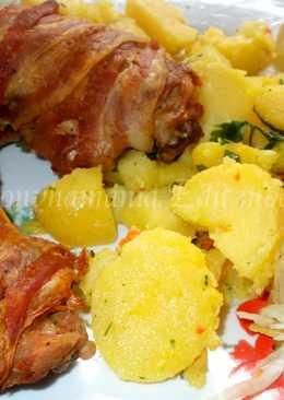 Bacon szalonnában sült csirkecomb