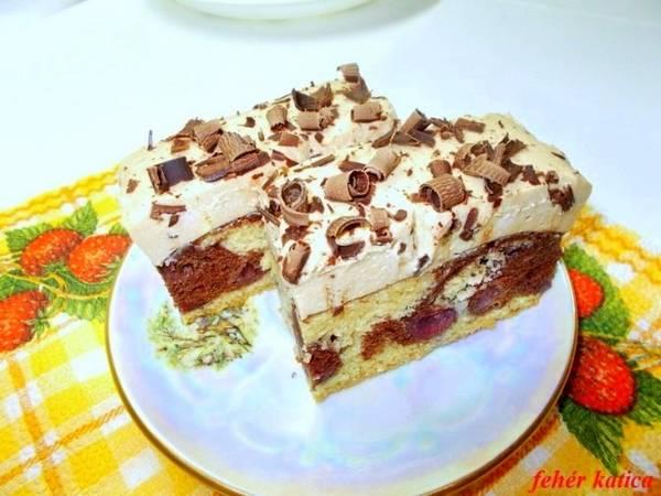 Csokis-meggyes piskóta karamell -pudingos krémmel