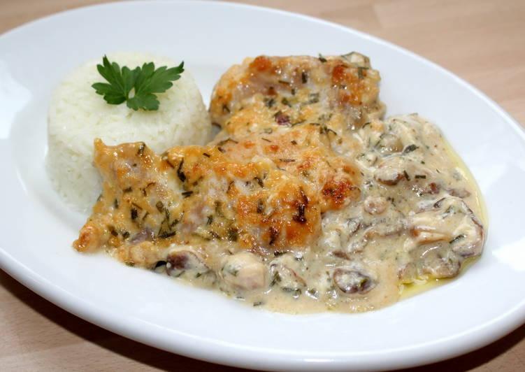 Sajtkrémes-gombás csirke