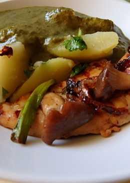 Grillezett csirkemell sóskamártással főtt burgonyával