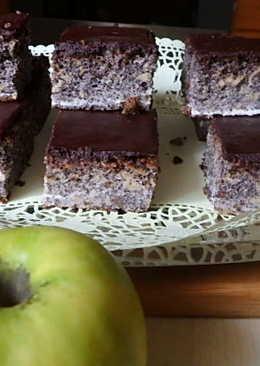 Almás-mákos kocka csokoládé tetővel