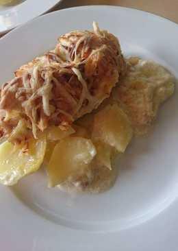 Almás csirkemell, krumplival csőben sült
