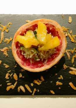 Rizs cukkinivel - mangó-grapefruit mártással