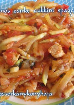 Bazsalikomos csirke, cukkini spagettivel
