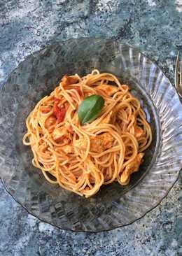Bazsalikomos csirkemelles spagetti 🍝❤️