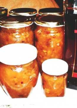 Ananászos-narancsos-mandarinos dzsem mogyoróval és Amaretto likőrrel