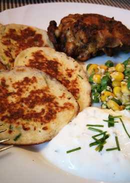 Sült csirkecomb, zabpalacsintával és szezámos kukoricás borsóval
