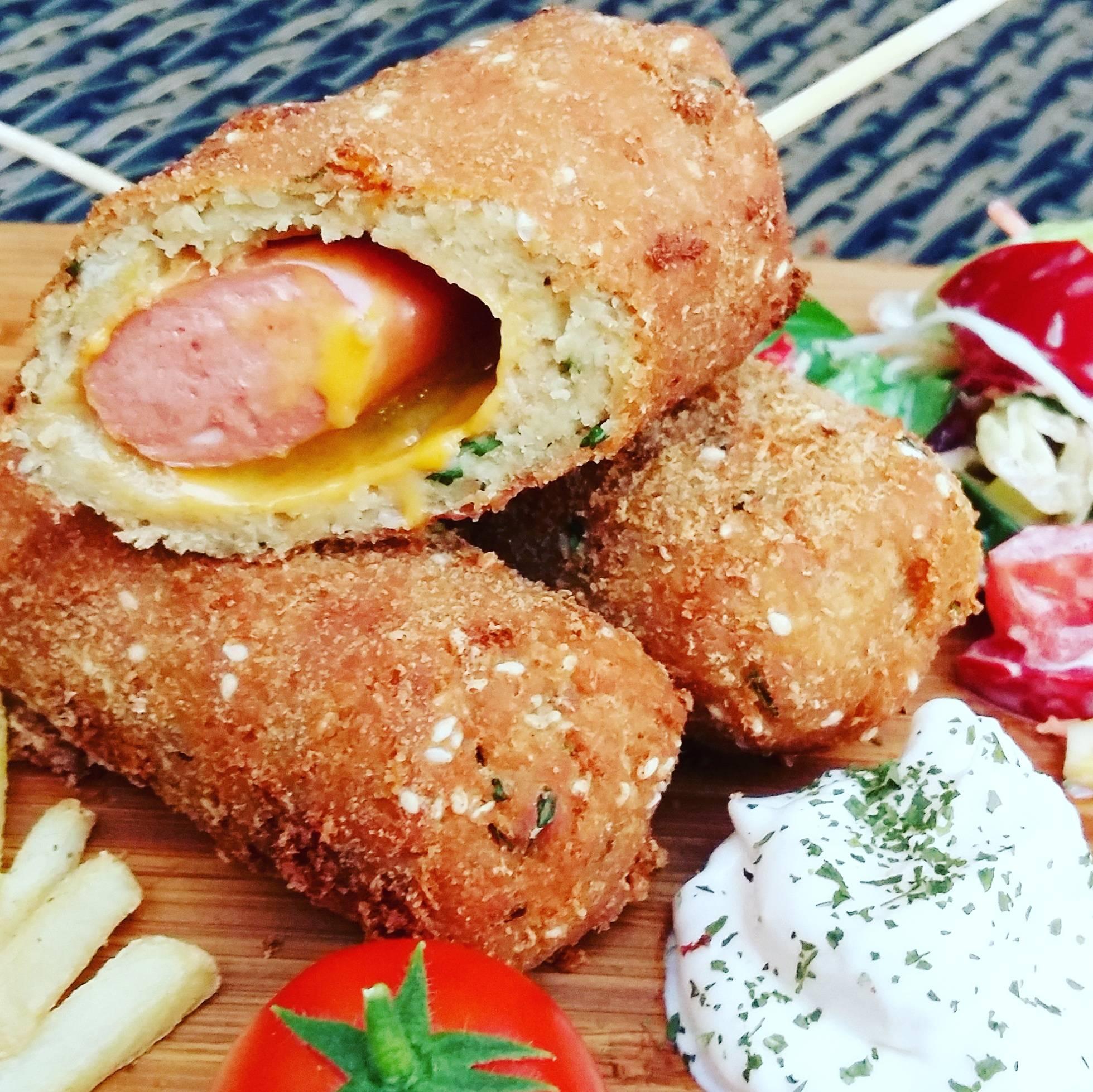 Csicseriborsó-bundás hot-dog recept főfotó