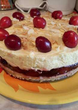 Sütés nélküli cseresznyés-vaníliás torta
