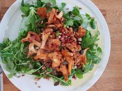 Bacon szalonnás rókagomba, salátaágyon