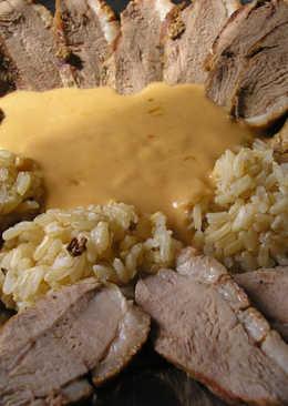 Sült libamell barna rizzsel, konyakmártással
