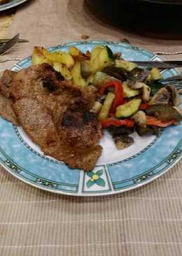 Tarja párolt zöldségekkel
